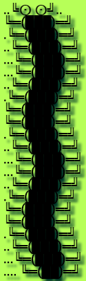 This example generates an image of a centipede from bold Robot font characters. It also adds a shadow to the characters using different CSS units.